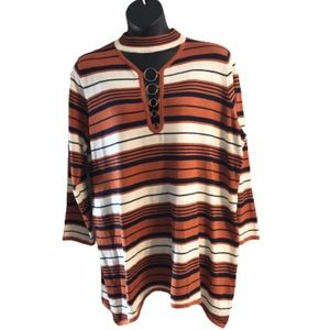 Ashley Stewart Striped Sweater with Ring Accents